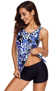 F4663-3Polka Dots Print Knot Side Tank Tops and Shorts Swimwear
