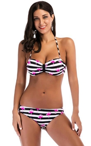 F4675-1Soild Flamingo Strip Print Halter Bikini Set