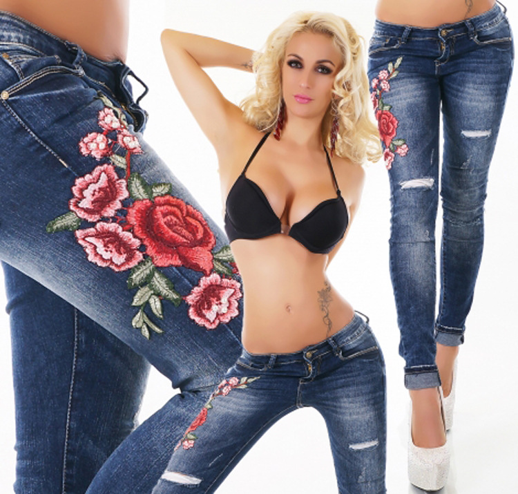 SZ60102 Mid Rise Distressed Rose Embroidery Jeans
