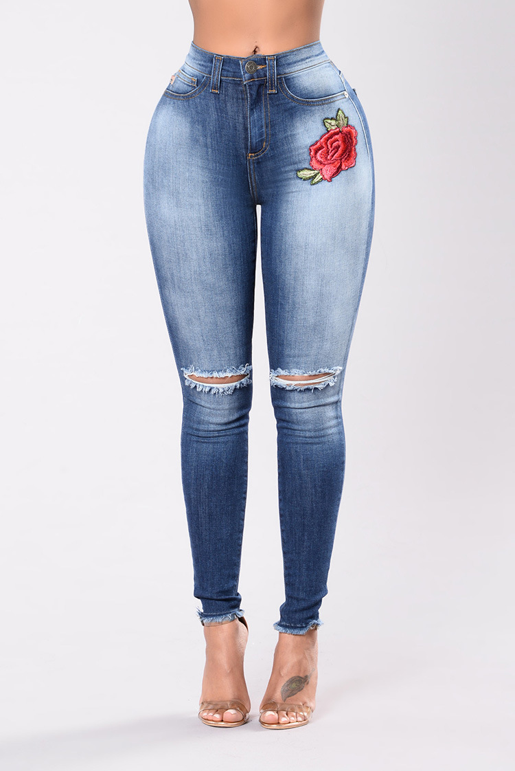 SZ60103 embroidered ripped jeans