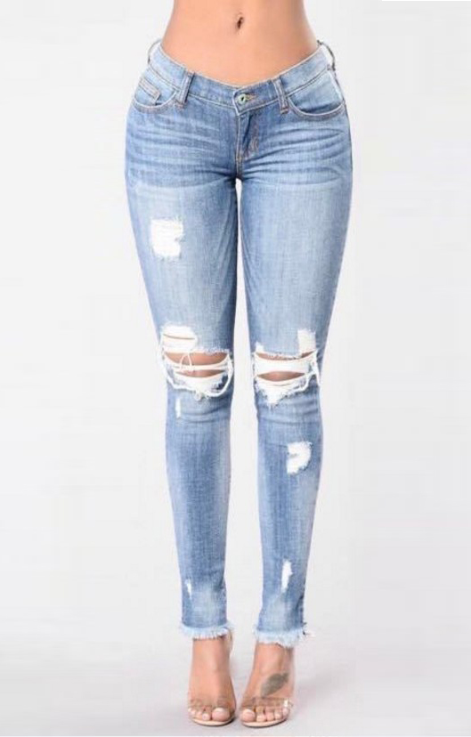 SZ60104 Denim Destroyed Skinny Jeans