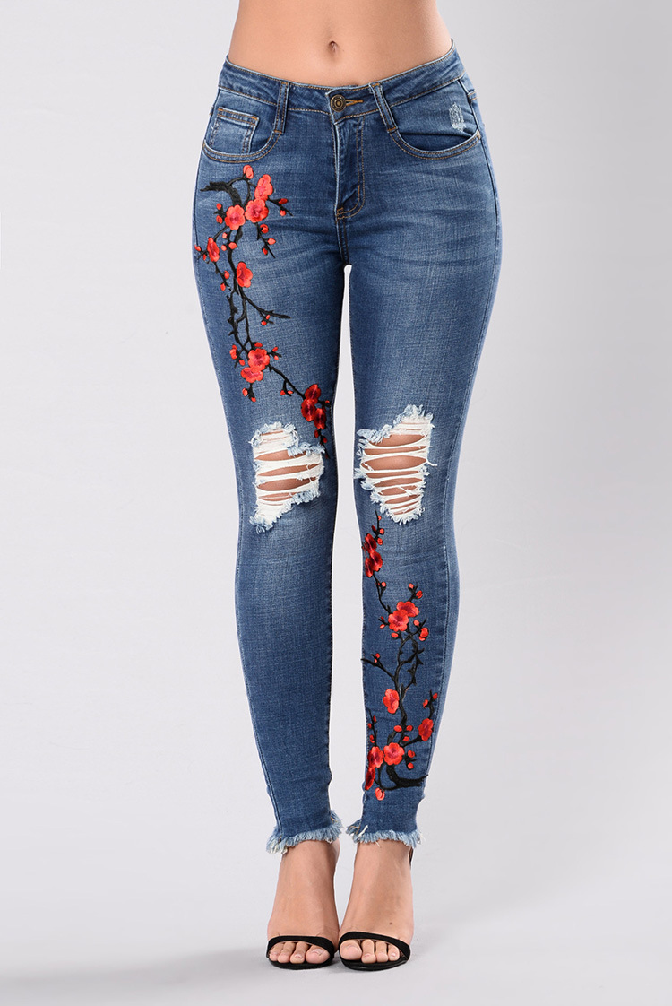SZ60106 flower embroidered jeans