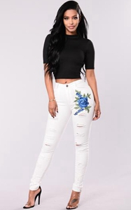 SZ60107 white embroidered jeans