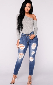 SZ60108 distressed ripped skinny jeans