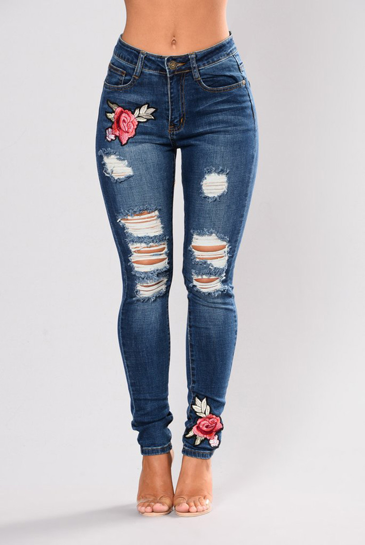 SZ60110 Women Casual Destroyed Ripped Distressed Skinny Denim Jeans
