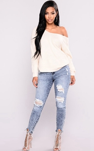 SZ60115 high waisted ripped jeans women