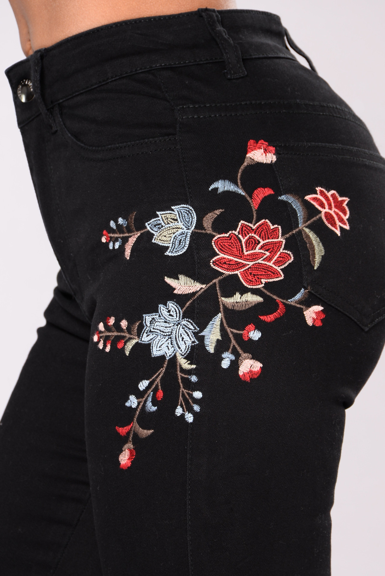 SZ60120 Womens Rose Embroidered High Waist Ripped Hole Denim Skinny Jeans Pants