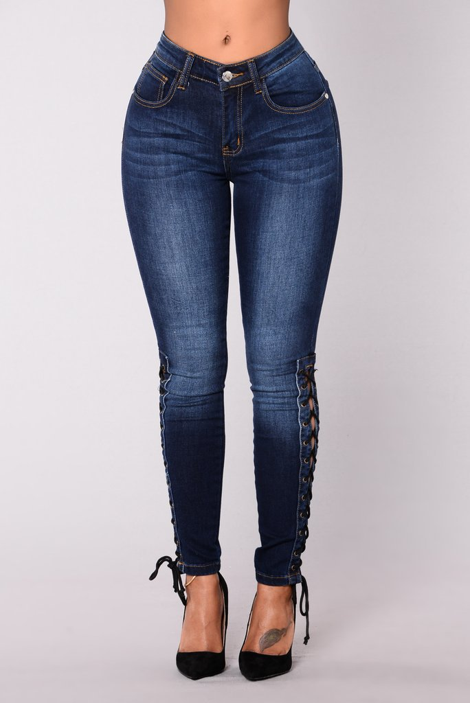 SZ60122 Womens High Waist Skinny Stretch Denim Ankle Lace Up Jean