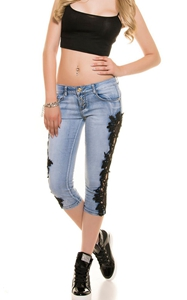 SZ60124-1 Women Patchwork Lace Floral Jeans Hollow Out Casual Denim Pencil Pants