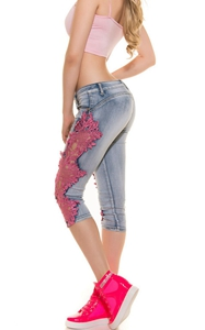 SZ60124-3 Women Patchwork Lace Floral Jeans Hollow Out Casual Denim Pencil Pants