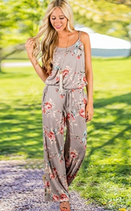 SZ60131-2  floral print Jumpsuits and Rompers straps backless Overalls for women