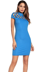 SZ60135-4 Sexy Women Bandage Dress Hollow Out Turtleneck Elegant Summer Dress