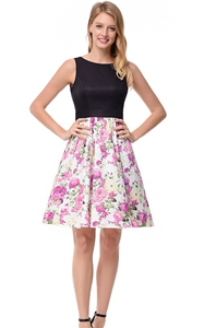 SZ60138-1 Floral Sleeveless Round Neck Cocktail Dress