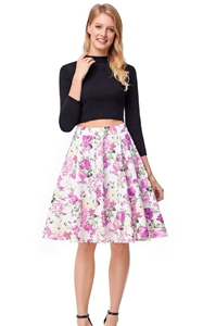 SZ60139-1  Vintage High Waist A-Line Rose Print Skirt