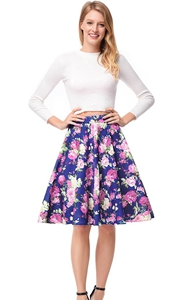 SZ60139-4 Long Sleeve Crop Top & Off Blue High-Low Skirt