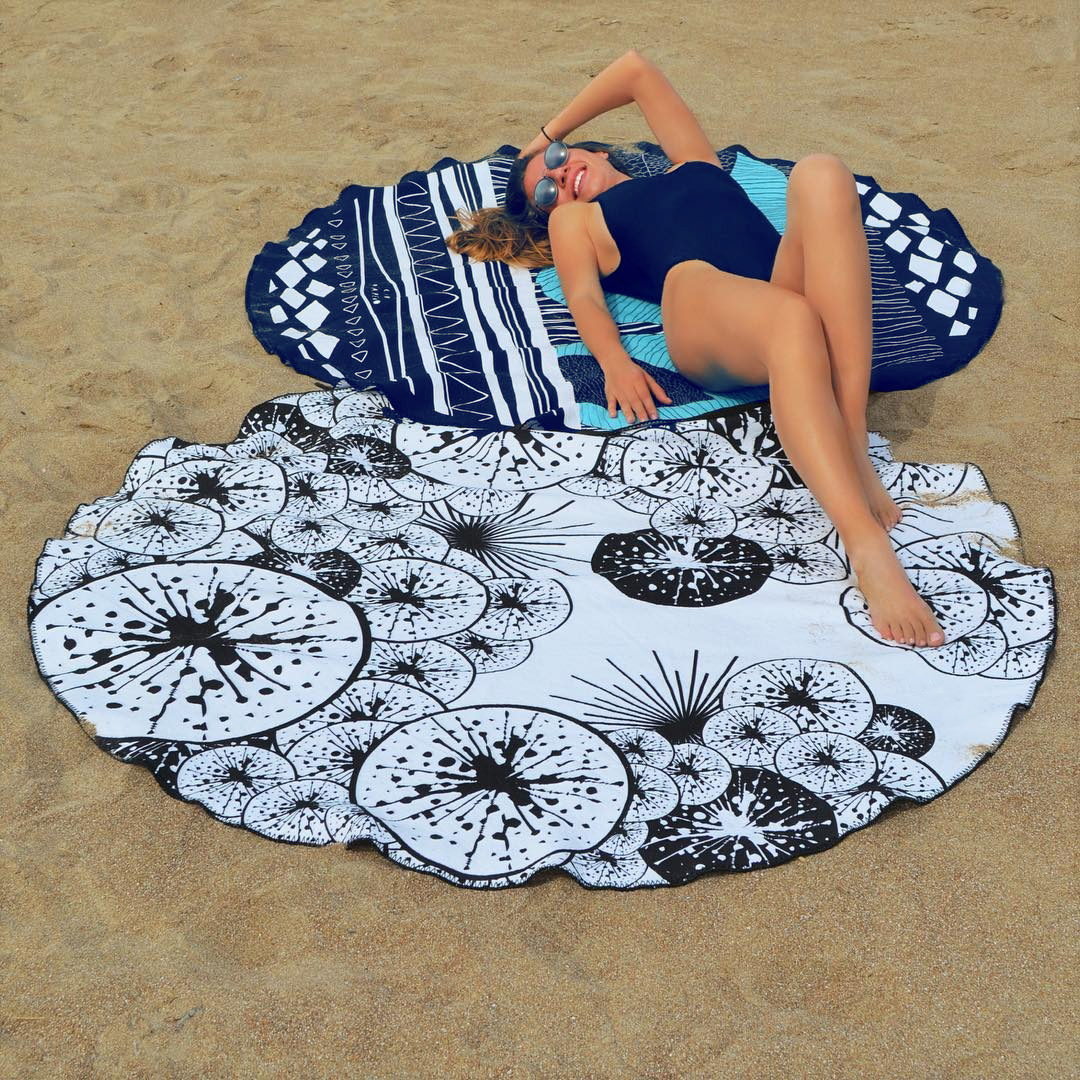 4709-1Quick Dry Floral Beach Cover-Up Beach Mat Tow