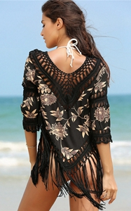 4713-2crochet beach cover up tassel for bikini swimsuit