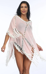 4717Fringe Crochet Beachwear Shawl