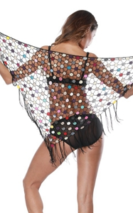 F4714Tassel Transparent Beach Shawl