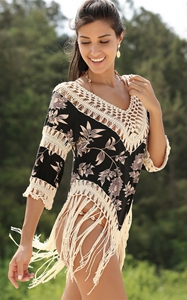 4713-3New fashion retro v-neck tassel knitting sexy su