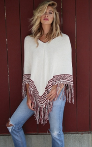 4704V neck tassel bottom beach shawl