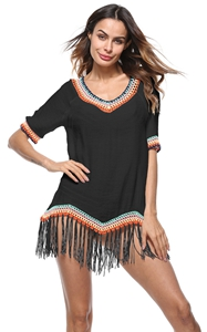 4715-2Tassels Mid-Length V-Neck Womens T-shirt