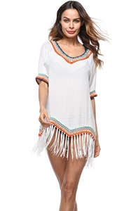 4715-1Bohemian Tassel Womens Swimwear Beachwe