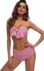 F4683-3  Two Pieces Grid Bow Tie Bikini Sets(Pink)