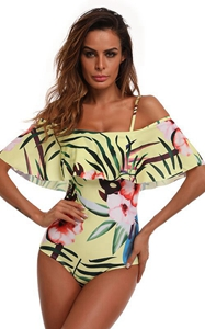 F4686 One Piece flounce Swimsuit leaf Printed Off Shoulder Padded Bathing Suit