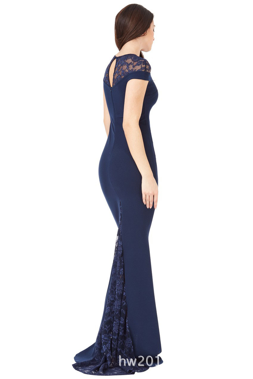 SZ60134-2 Pleated Maxi Dress With Lace Detail in Navy