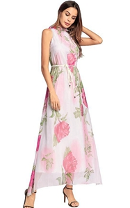 SZ60137 Pink Floral Printed Halter Maxi Dress