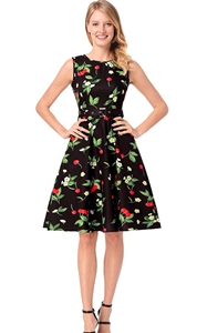 SZ60141 Vintage Sleeveless Cherry Print Casual Dress