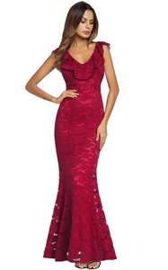 SZ60143-1 Deep V-Neck Flounce Lace Plain Mermaid Evening Dress