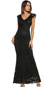 SZ60143-2 Sleeveless Floral Lace Formal Long Evening Party Ball Prom Gown Dress
