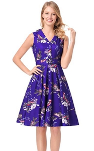 SZ60146-2 Lapel Stealth Zipper Bird Printing Design Skirt Retro Series