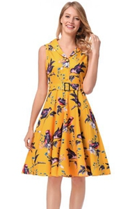 SZ60146-3 Lapel Stealth Zipper Bird Printing Design Skirt Retro Series
