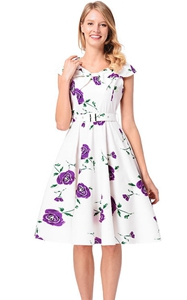 SZ60148-2 Stealth Zipper Lapel Rose Printing Design Dress Retro Series