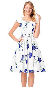 SZ60148-3 Stealth Zipper Lapel Rose Printing Design Dress Retro Series