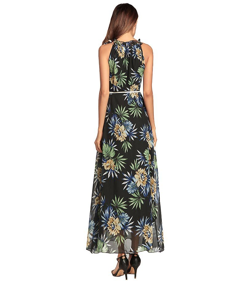 SZ60150 High-Necked Long Bohemian Dresses Casual Loose Floral Printed Maxi Dress