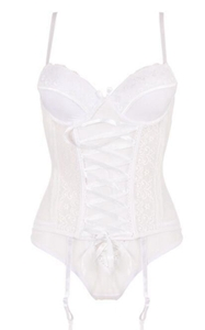 F5390-1Lace Mesh Bustiers With Garters And Thong