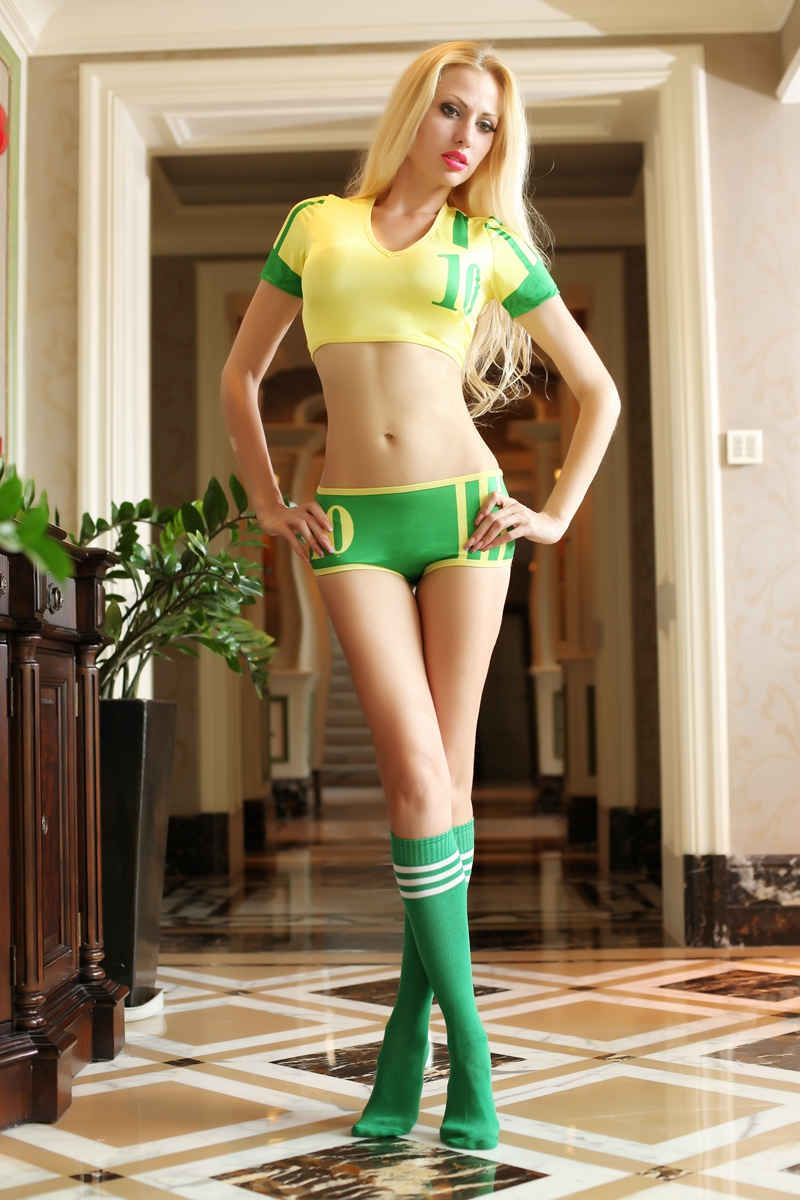 F1835Sexy Titivate Brazil Baby Game Uniform Short Slee