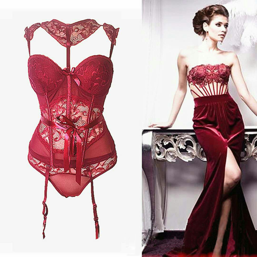 F5389-1Women Sexy Lingerie and Corset Lace Patchwork Push