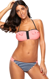 BY410469-10 Coral Frill Bikini and Striped Swimsuit