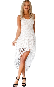 BY61443-1 White Hollow Lace Nude Illusion Hi-low Party Dress