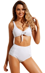 BY410655-1 White Tie Front Bikini Ruched High Waist Swimsuit