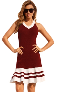 BY220373-3 Burgundy White Cute Ruffle Hem Mini Dress