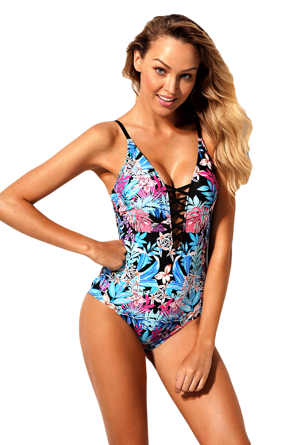BY410516  Flourish Tropical Print Lace Up One Piece Swimsuit
