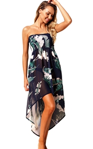BY42278-5 Tropical Leaf Print White Convertible Beach Dress