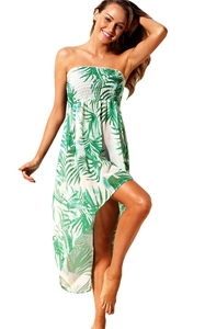 BY42278-9 Tropical Leaf Print White Convertible Beach Dress