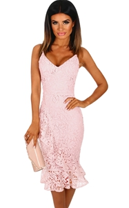 BY610057-10 Pink Crochet Frill Midi Dress